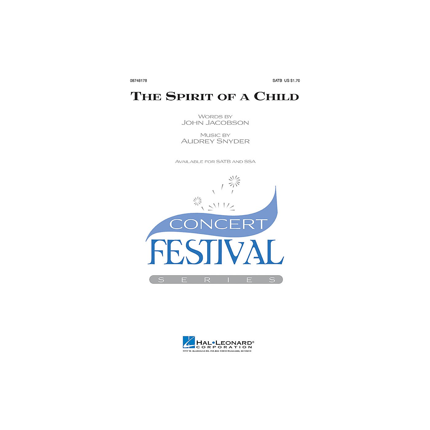 Hal Leonard The Spirit of a Child SATB composed by Audrey Snyder thumbnail