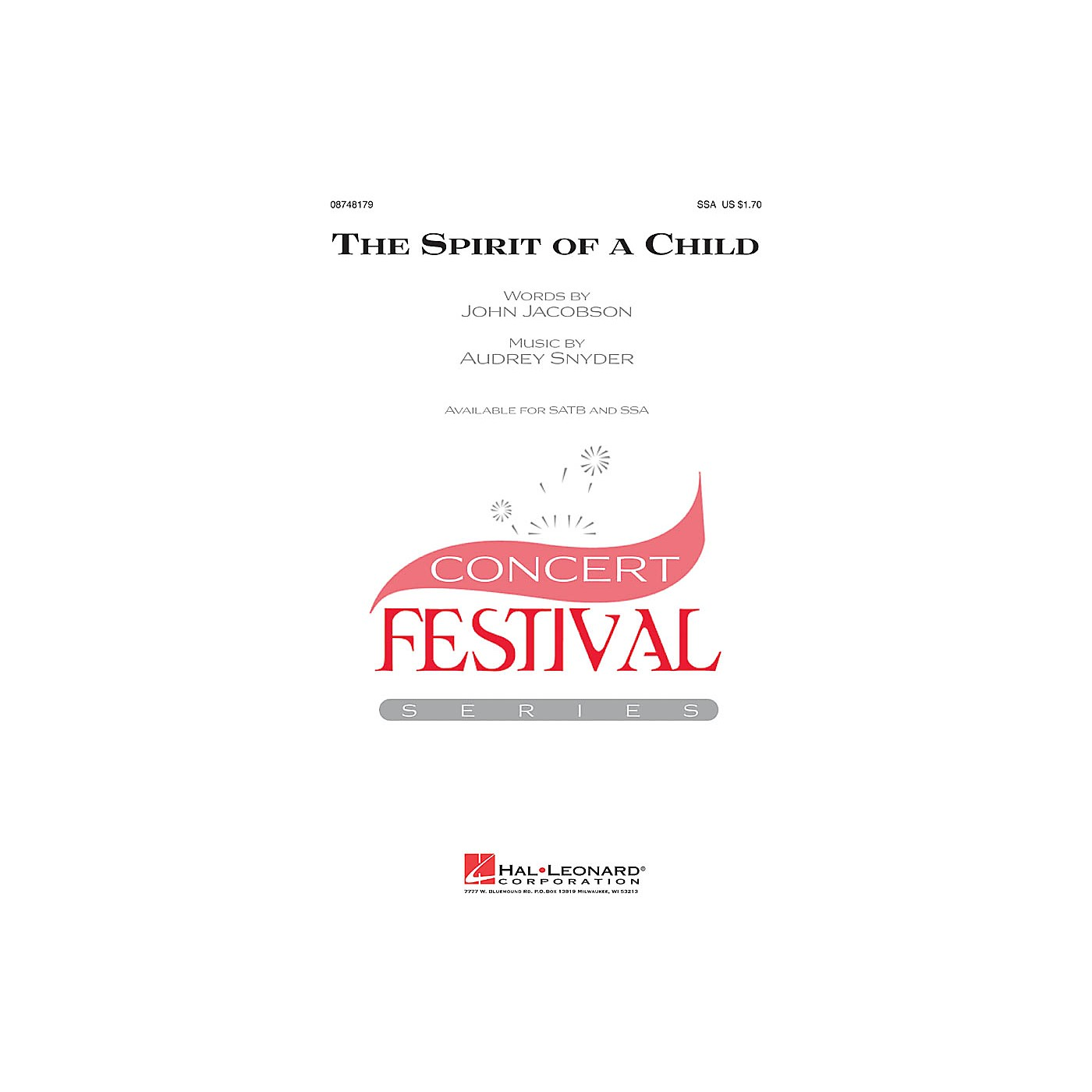Hal Leonard The Spirit of a Child SSA composed by Audrey Snyder thumbnail