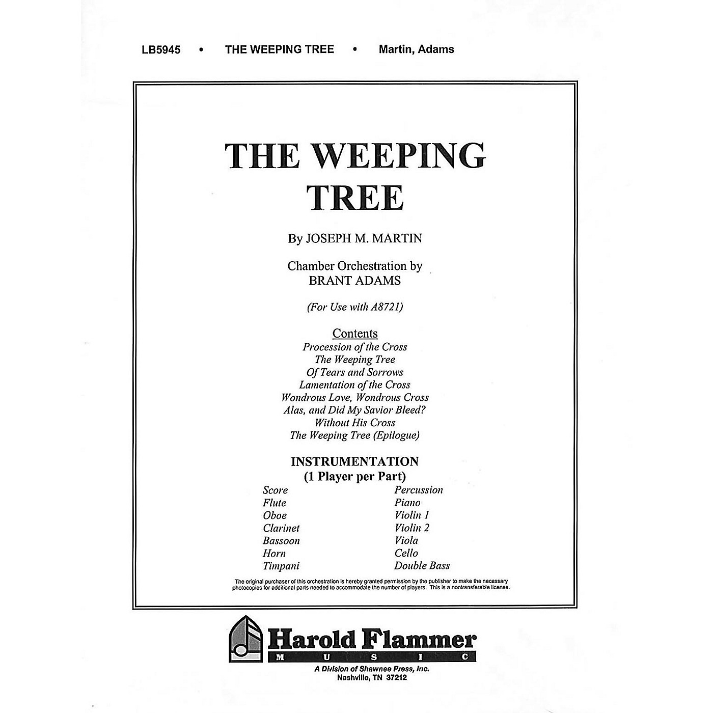 Shawnee Press The Weeping Tree (Chamber Orchestration) Chamber Orchestra composed by Joseph M. Martin thumbnail