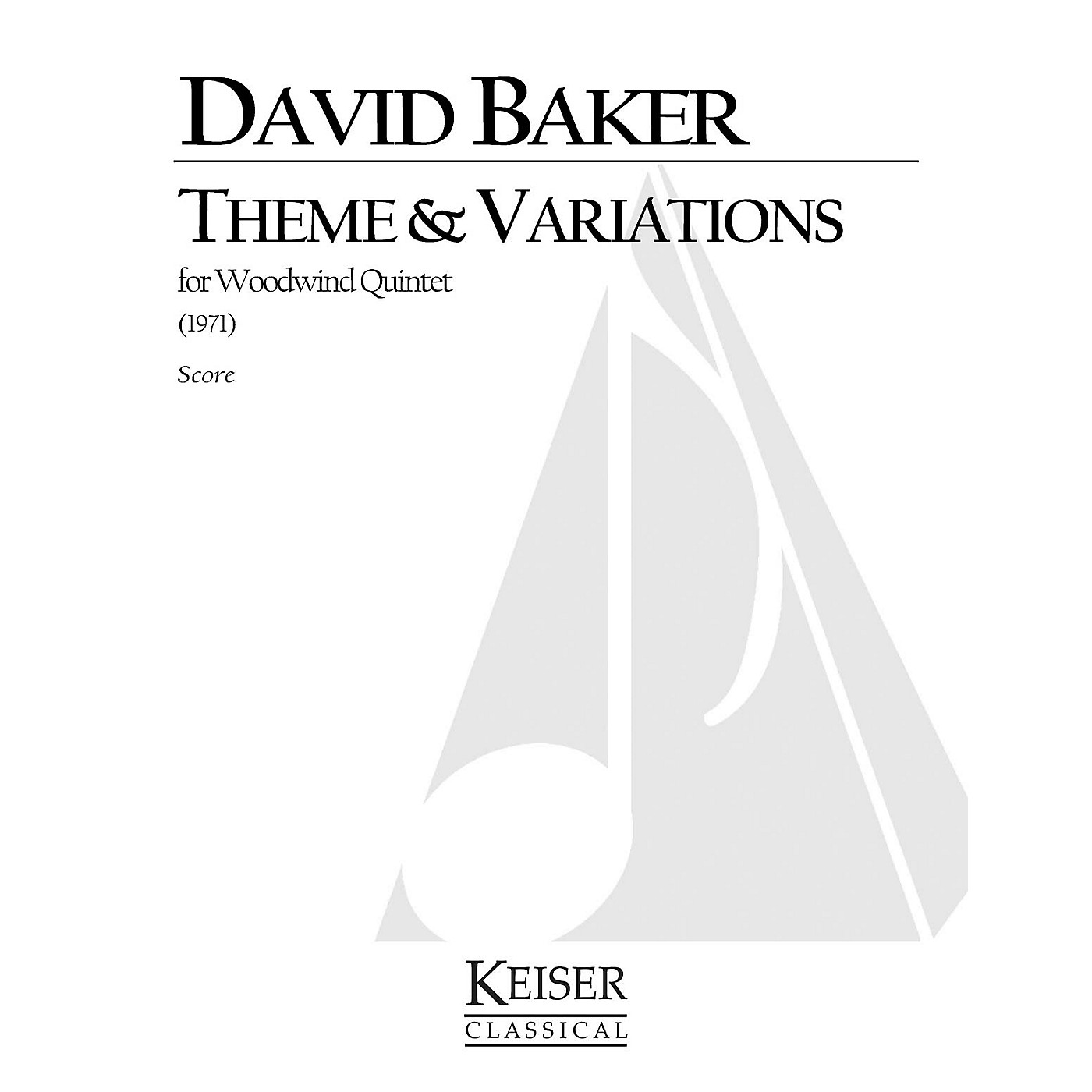 Lauren Keiser Music Publishing Theme and Variations for Woodwind Quintet LKM Music Series by David Baker thumbnail