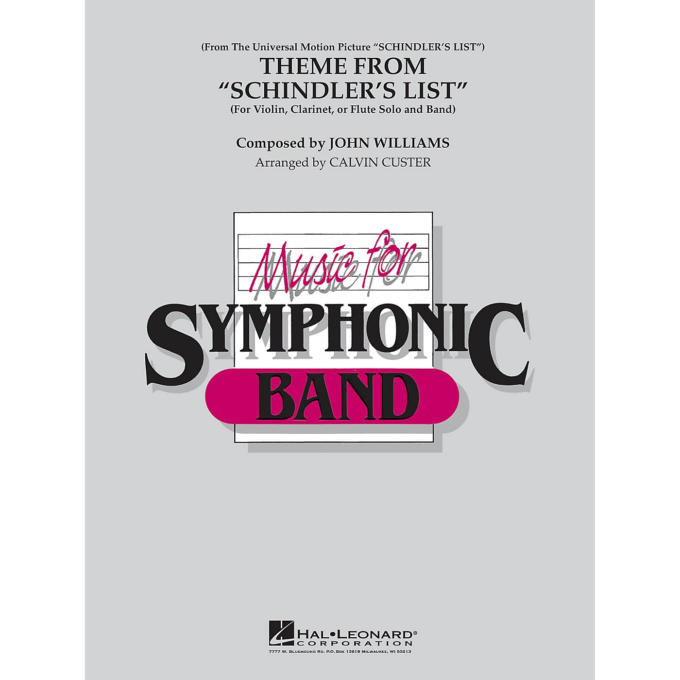 Hal Leonard Theme from Schindler's List Concert Band Level 4 by Itzhak Perlman Arranged by Calvin Custer thumbnail