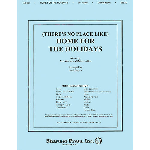 Shawnee Press (There's No Place Like) Home for the Holidays Score & Parts arranged by Mark Hayes thumbnail