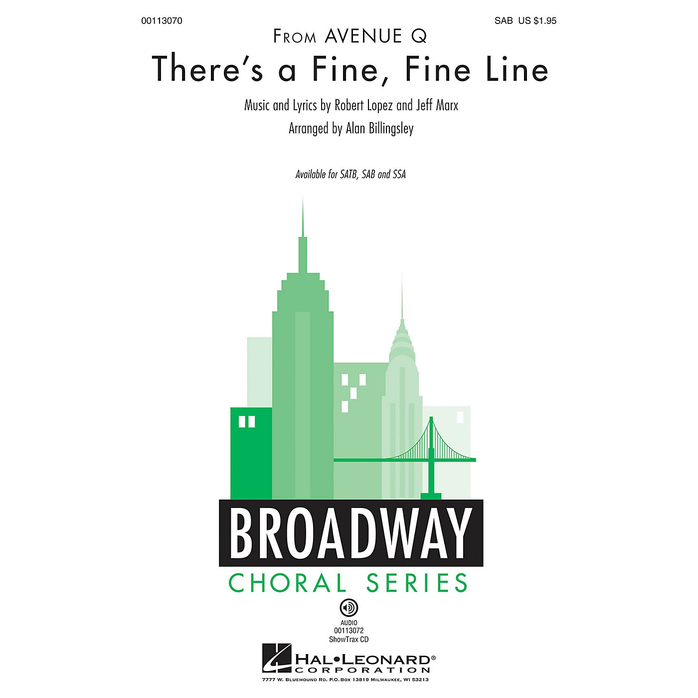Hal Leonard There's a Fine, Fine Line (from Avenue Q) SAB by Avenue Q arranged by Alan Billingsley thumbnail