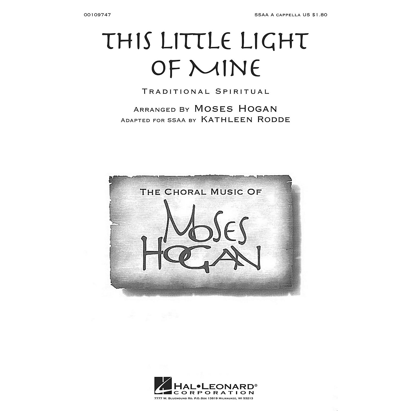 Hal Leonard This Little Light of Mine SSAA A Cappella composed by Moses Hogan thumbnail
