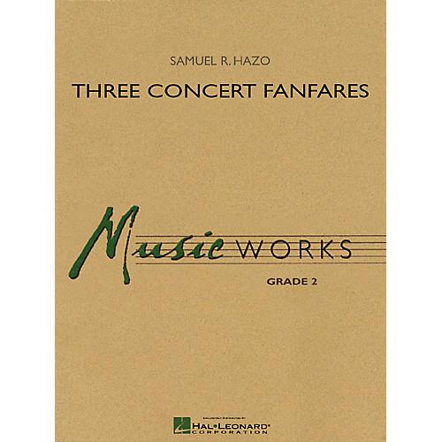Hal Leonard Three Concert Fanfares Concert Band Level 2 Composed by Samuel R. Hazo thumbnail