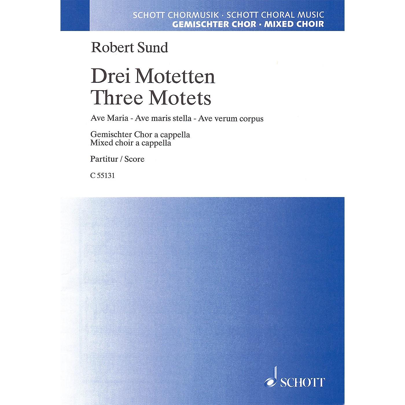 Schott Music Three Motets (SATB) SATB Composed by Robert Sund thumbnail