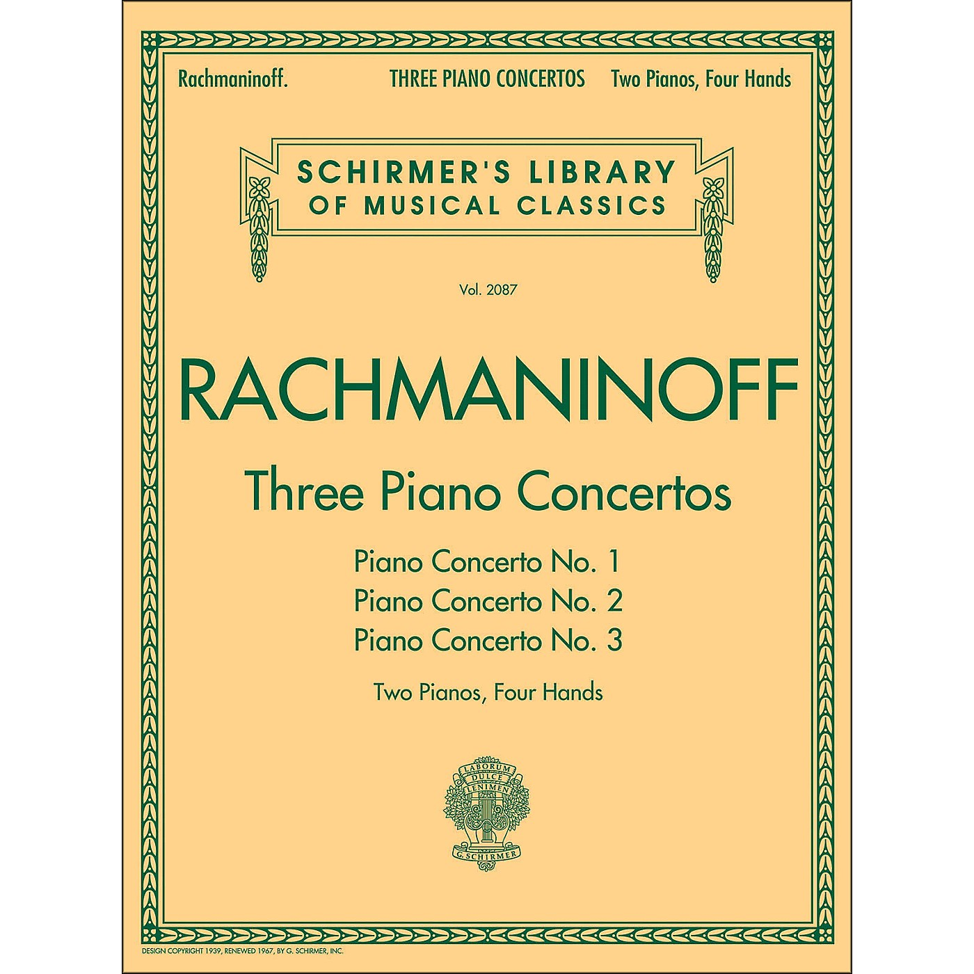 G. Schirmer Three Piano Concertos - Concerto Nos. 1 2 3 - 2 Pianos/4 Hands By Rachmaninoff thumbnail