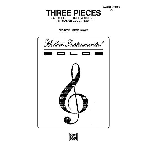 Alfred Three Pieces (Ballad, Humoresque, March Eccentric) for Bassoon By Vladimir Bakaleinikoff Book thumbnail