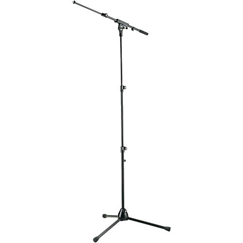 K&M Three-Section Tripod Microphone Stand With Adjustable Boom Arm - Black thumbnail