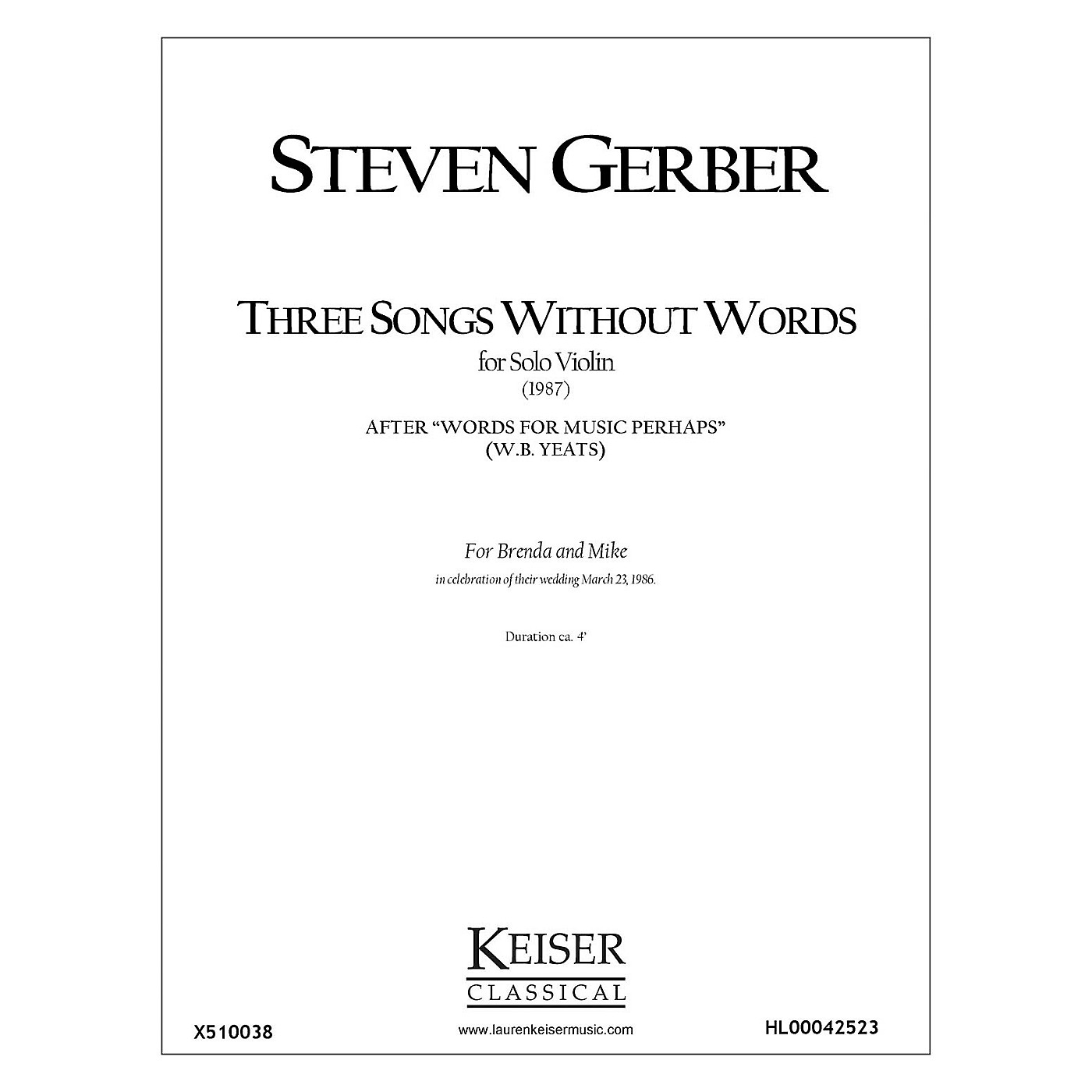 Lauren Keiser Music Publishing Three Songs Without Words from Words for Music Perhaps LKM Music Series by Steven Gerber thumbnail