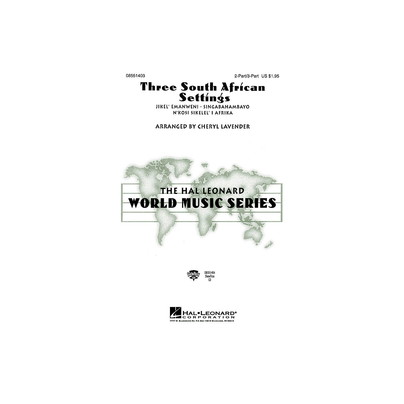 Hal Leonard Three South African Settings (Collection) 3 Part Treble arranged by Cheryl Lavender thumbnail
