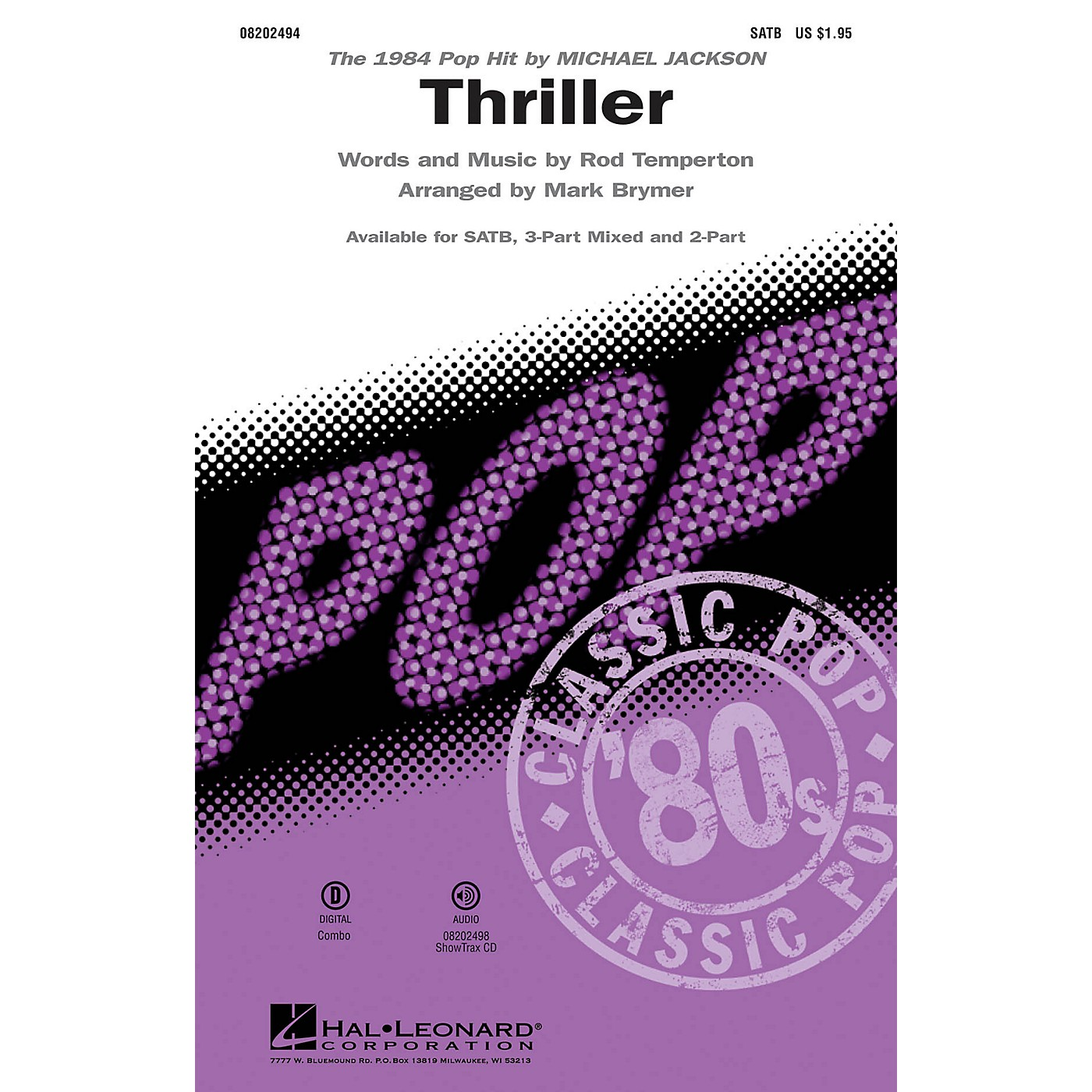Hal Leonard Thriller 3-Part Mixed by Michael Jackson Arranged by Mark Brymer thumbnail