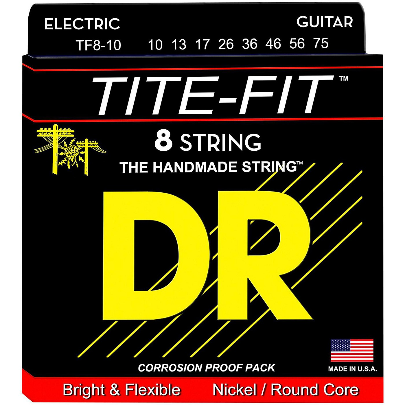 DR Strings Tite-Fit Nickel Plated Medium 8-String Electric Guitar Strings (10-75) thumbnail