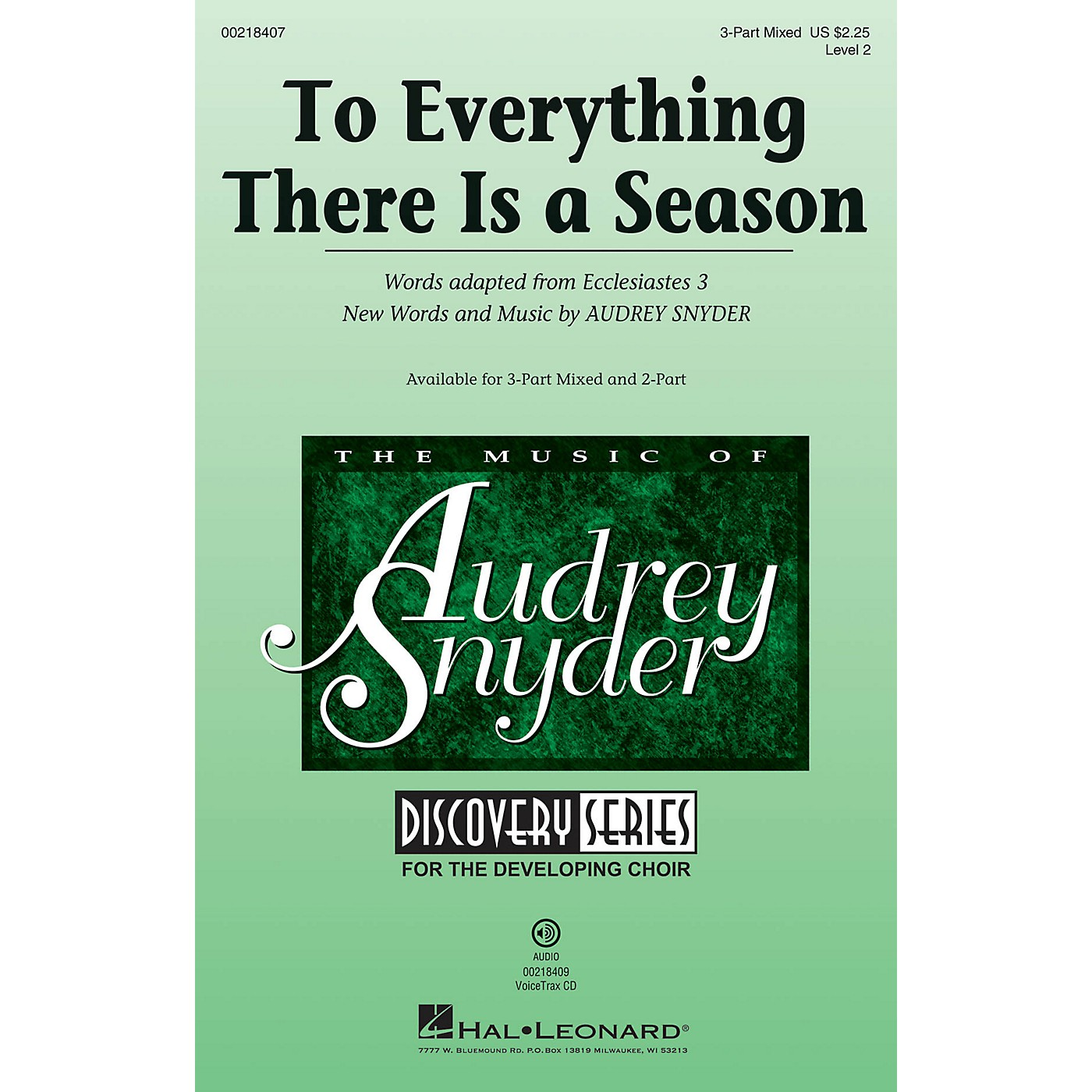 Hal Leonard To Everything There Is a Season (Discovery Level 2) 3-Part Mixed composed by Audrey Snyder thumbnail