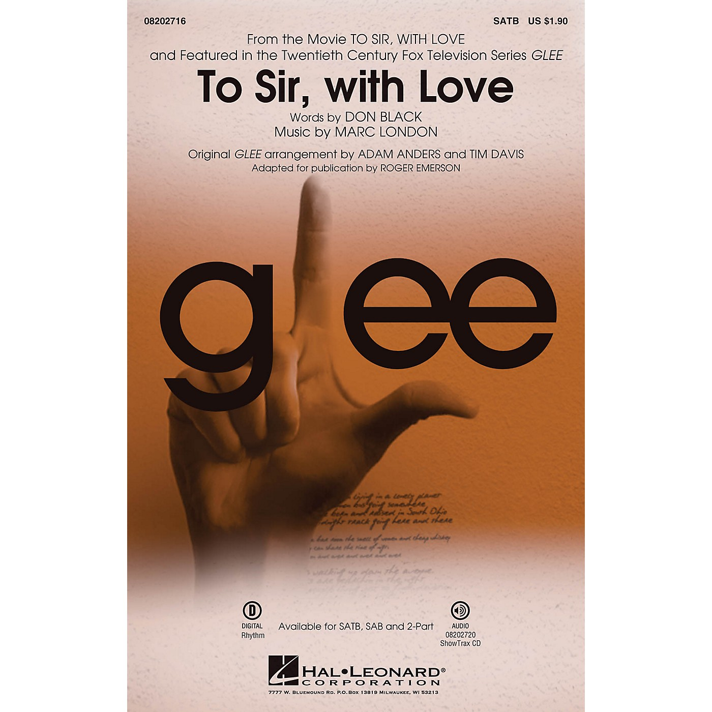 Hal Leonard To Sir, with Love (featured in Glee) SATB by Glee Cast arranged by Adam Anders thumbnail