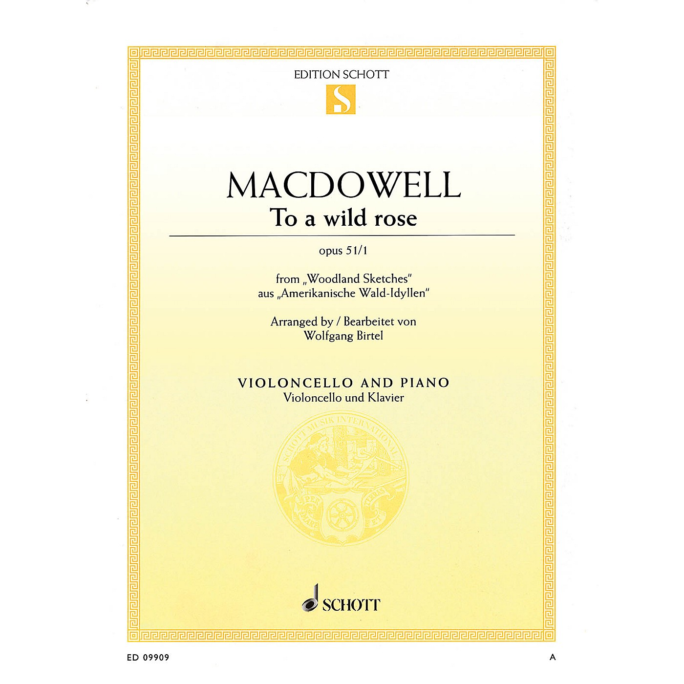 Schott To a Wild Rose, Op. 51, No. 1 (Cello and Piano) String Series Softcover thumbnail