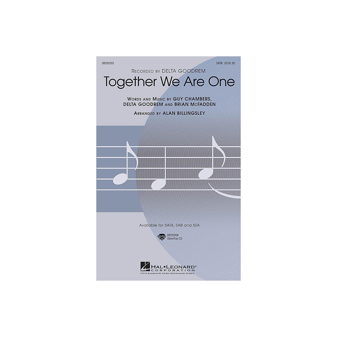 Hal Leonard Together We Are One SATB by Delta Goodrem arranged by Alan Billingsley thumbnail
