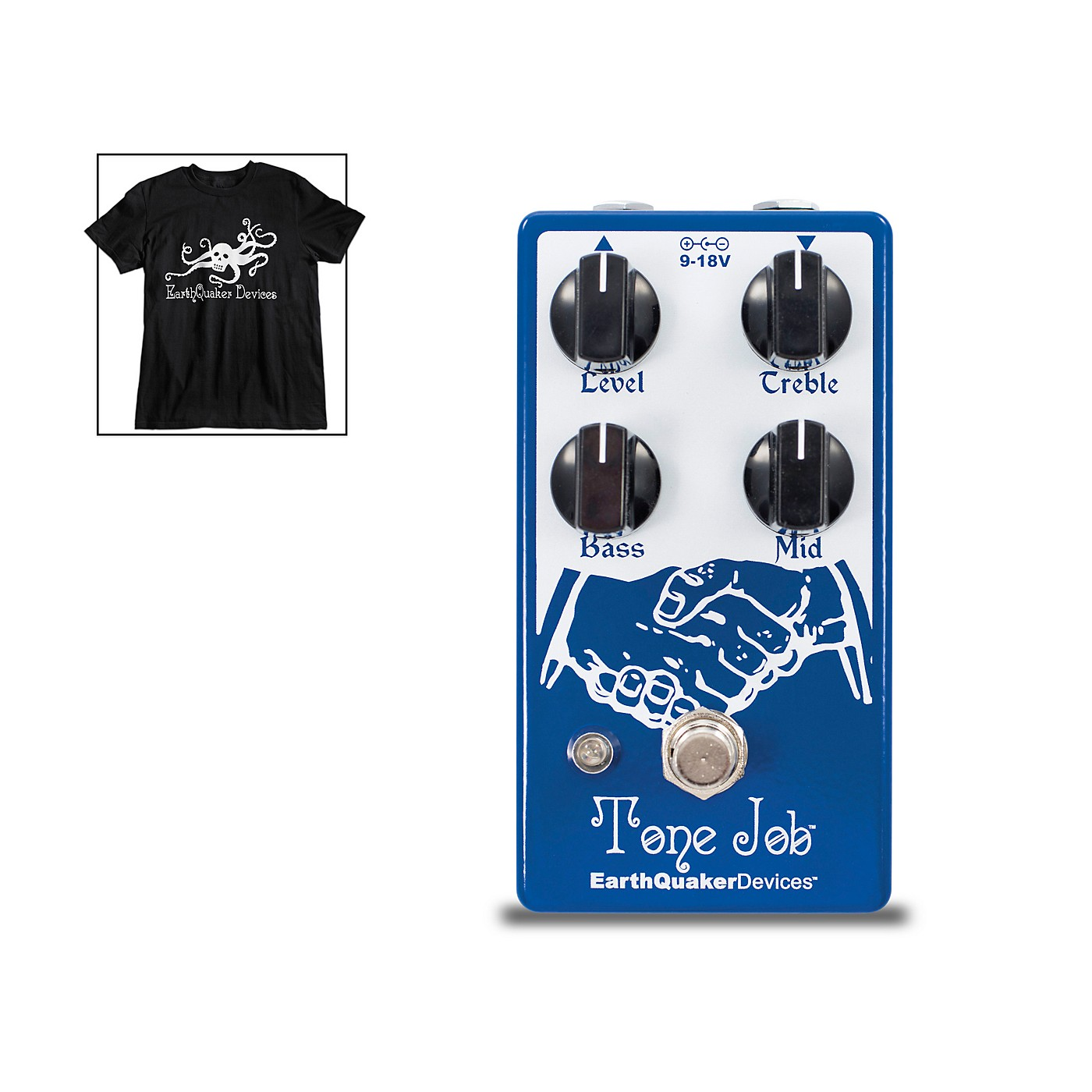 Earthquaker Devices Tone Job V2 EQ & Boost Guitar Effects Pedal and Octoskull T-Shirt Large Black thumbnail