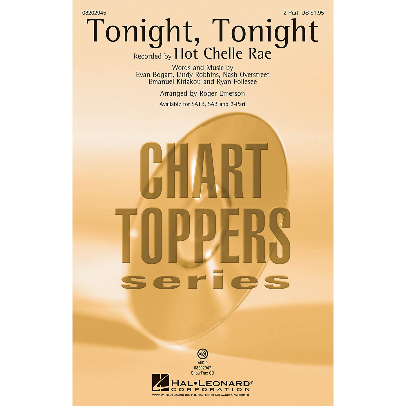 Hal Leonard Tonight, Tonight 2-Part by Hot Chelle Rae arranged by Roger Emerson thumbnail
