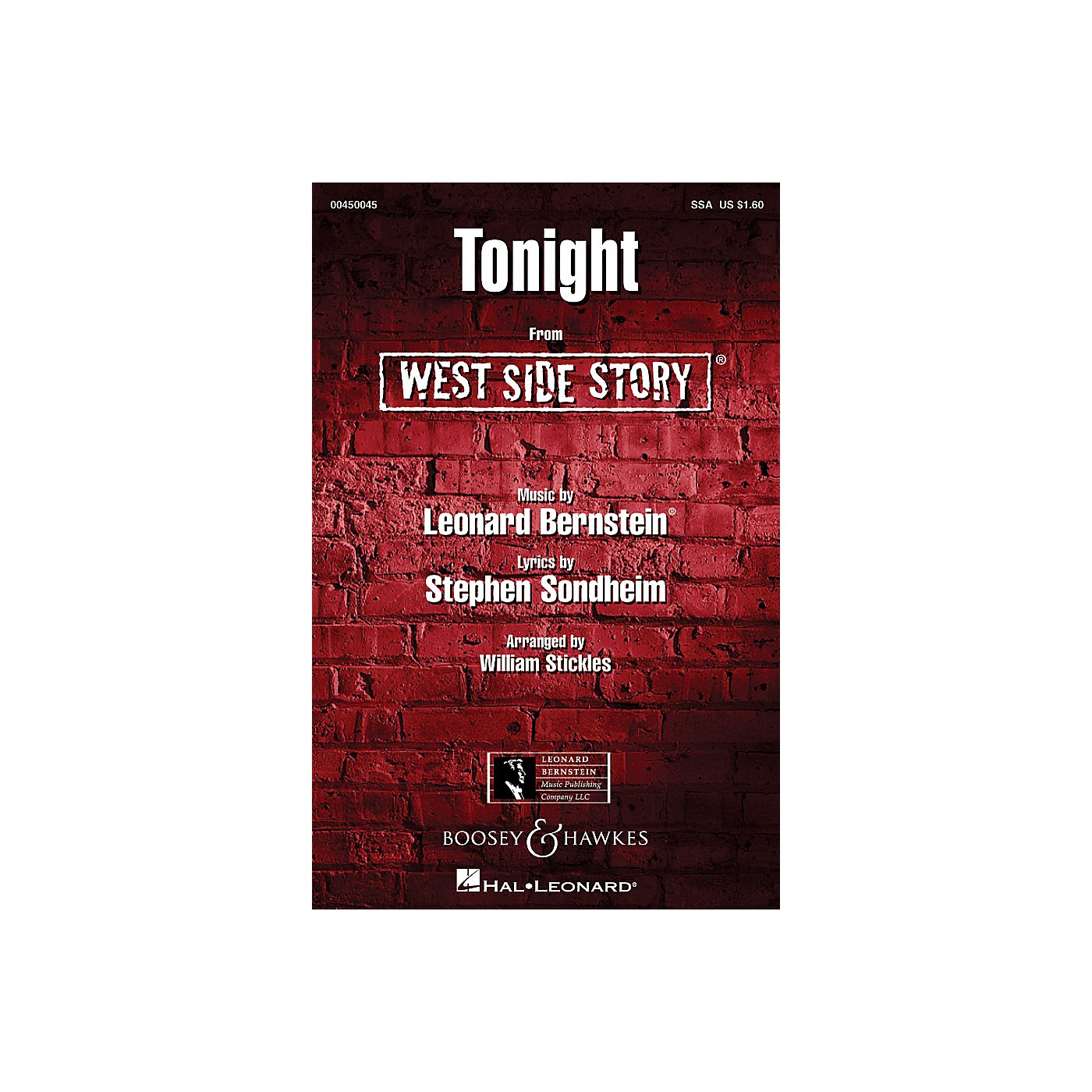 Hal Leonard Tonight (from West Side Story) SSA Arranged by William Stickles thumbnail