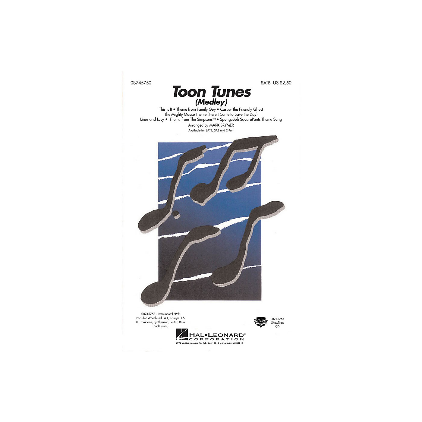 Hal Leonard Toon Tunes SAB Arranged by Mark Brymer thumbnail
