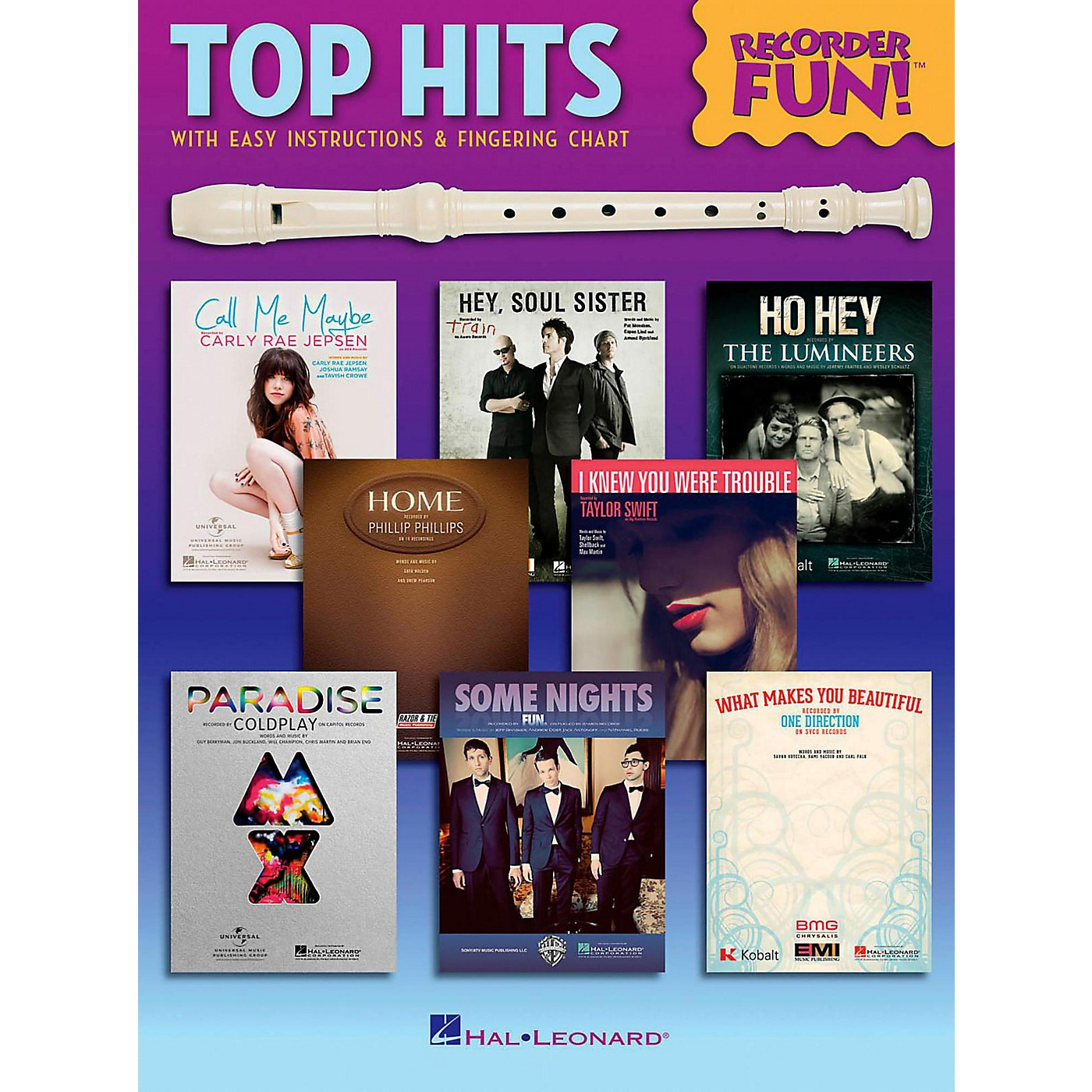 Hal Leonard Top Hits - Recorder Fun!  Songbook with Easy Instructions & Fingering Chart thumbnail