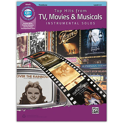 Alfred Top Hits from TV, Movies & Musicals Instrumental Solos Trombone Book & CD, Level 2-3 thumbnail