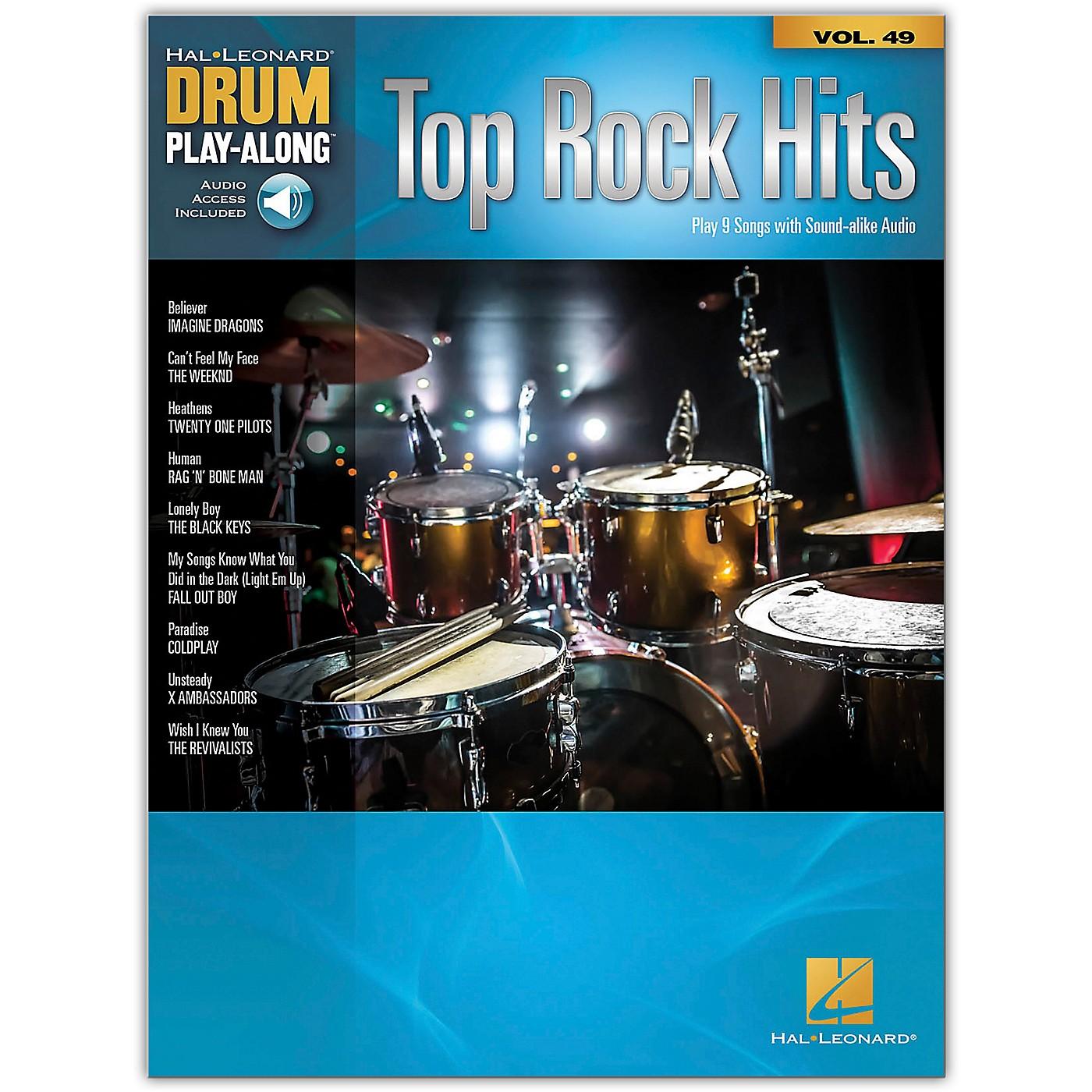 Hal Leonard Top Rock Hits - Drum Play-Along Series Volume 49 Book/Online Audio thumbnail