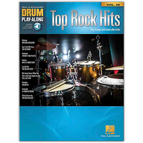 Hal Leonard Top Rock Hits - Drum Play-Along Series Volume 49 Book/Online Audio thumbnail