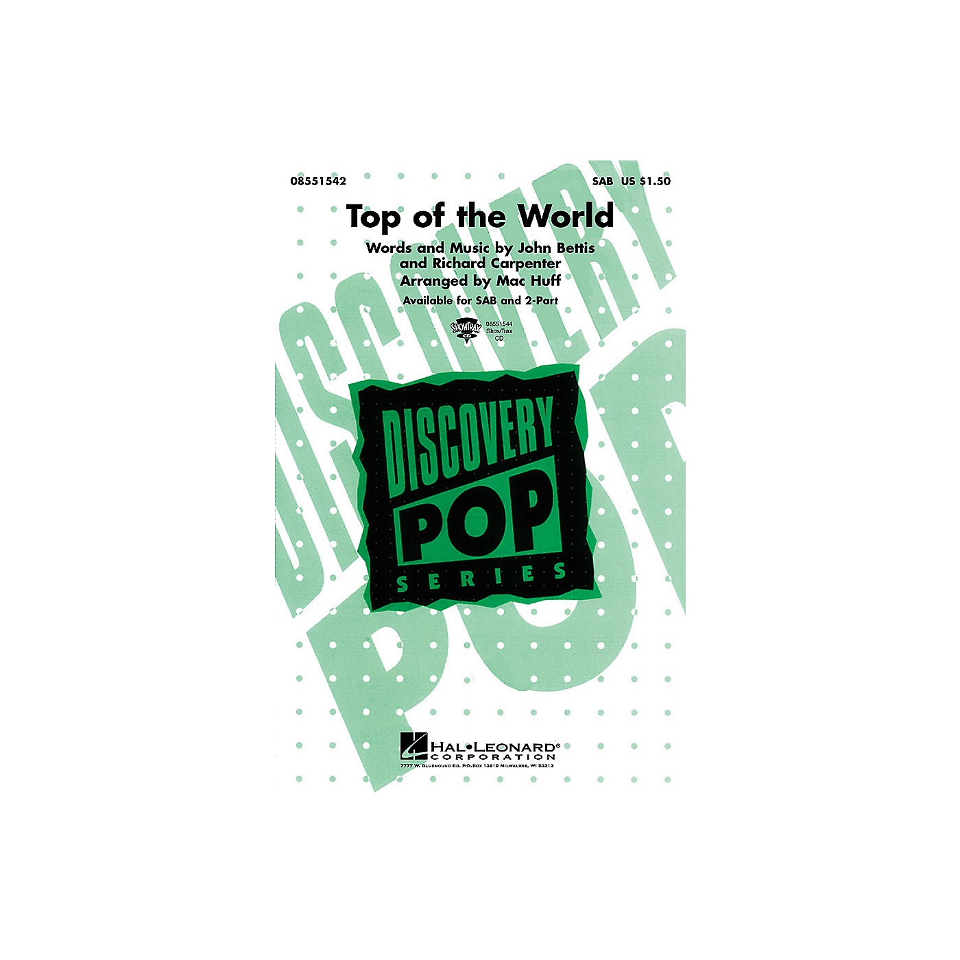 Hal Leonard Top of the World 2-Part by Carpenters Arranged by M Huff thumbnail