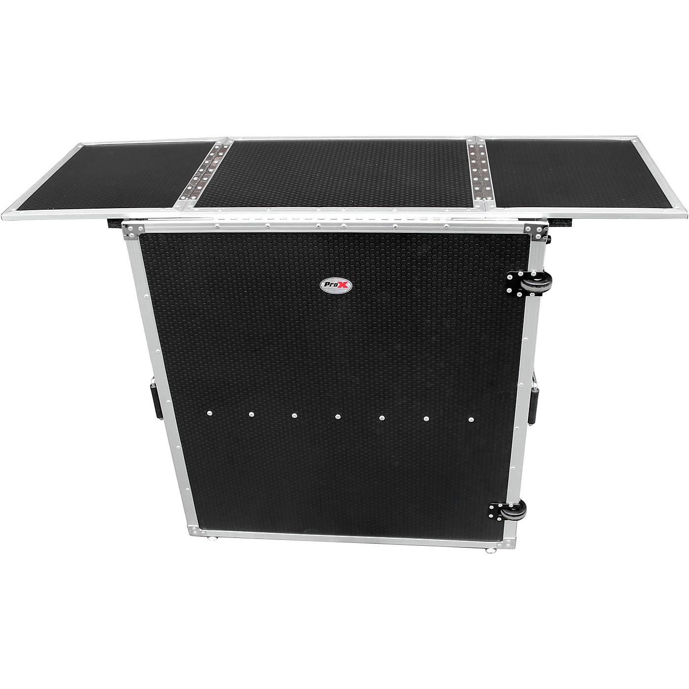 ProX Transformer Series Fold Away DJ Performance Desk Facade Black/Black with Wheels thumbnail