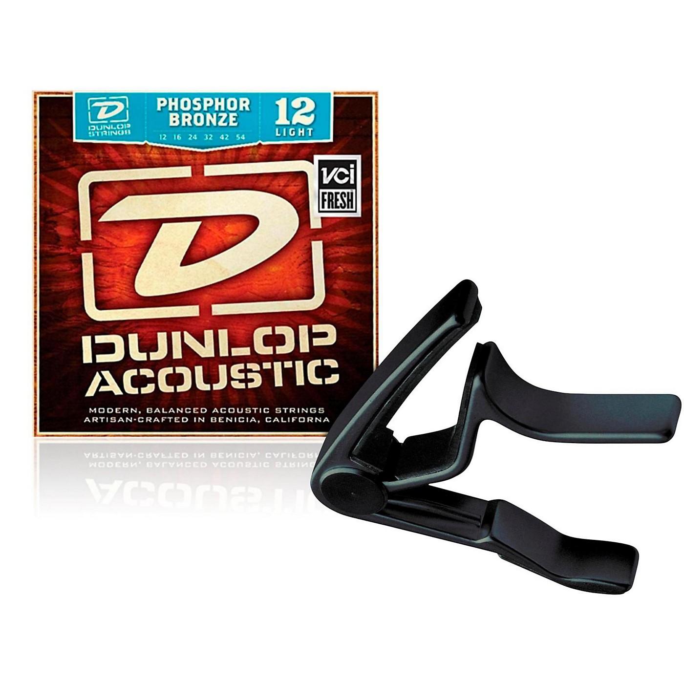 Dunlop Trigger Curved Black Capo andPhosphor Bronze Light Acoustic Guitar Strings thumbnail
