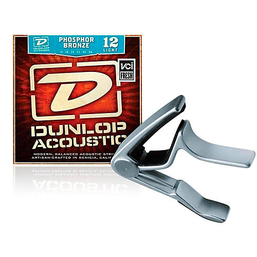 Dunlop Trigger Curved Nickel Capo andPhosphor Bronze Light Acoustic Guitar Strings-thumbnail