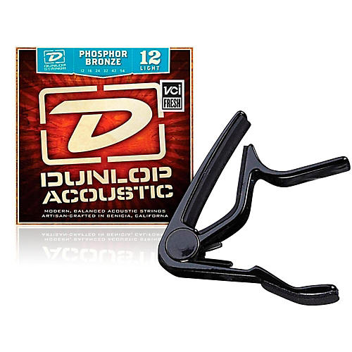 Dunlop Trigger Flat Black Capo and Phosphor Bronze Light Acoustic Guitar Strings  thumbnail