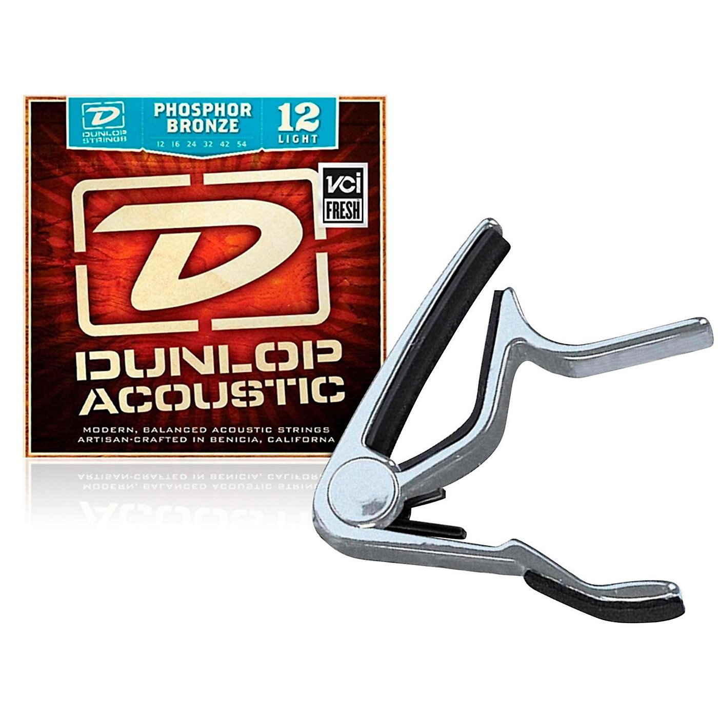 Dunlop Trigger Flat Nickel Capo and Phosphor Bronze Light Acoustic Guitar Strings  thumbnail