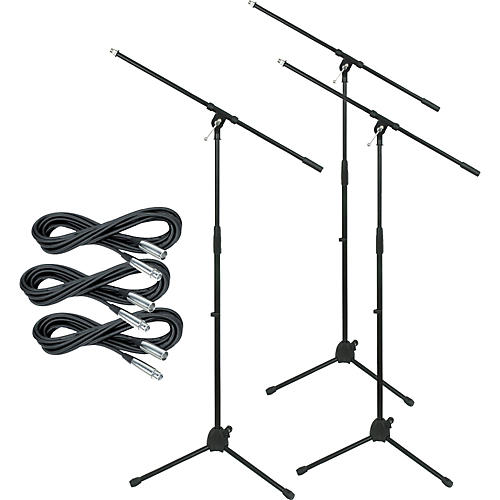 Musician's Gear Tripod Mic Stand with 20-Foot Mic Cable (3-Pack)-thumbnail