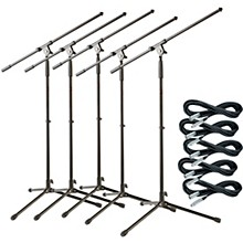 Musician's Gear Tripod Mic Stand with 20 Foot Mic Cable 5-Pack