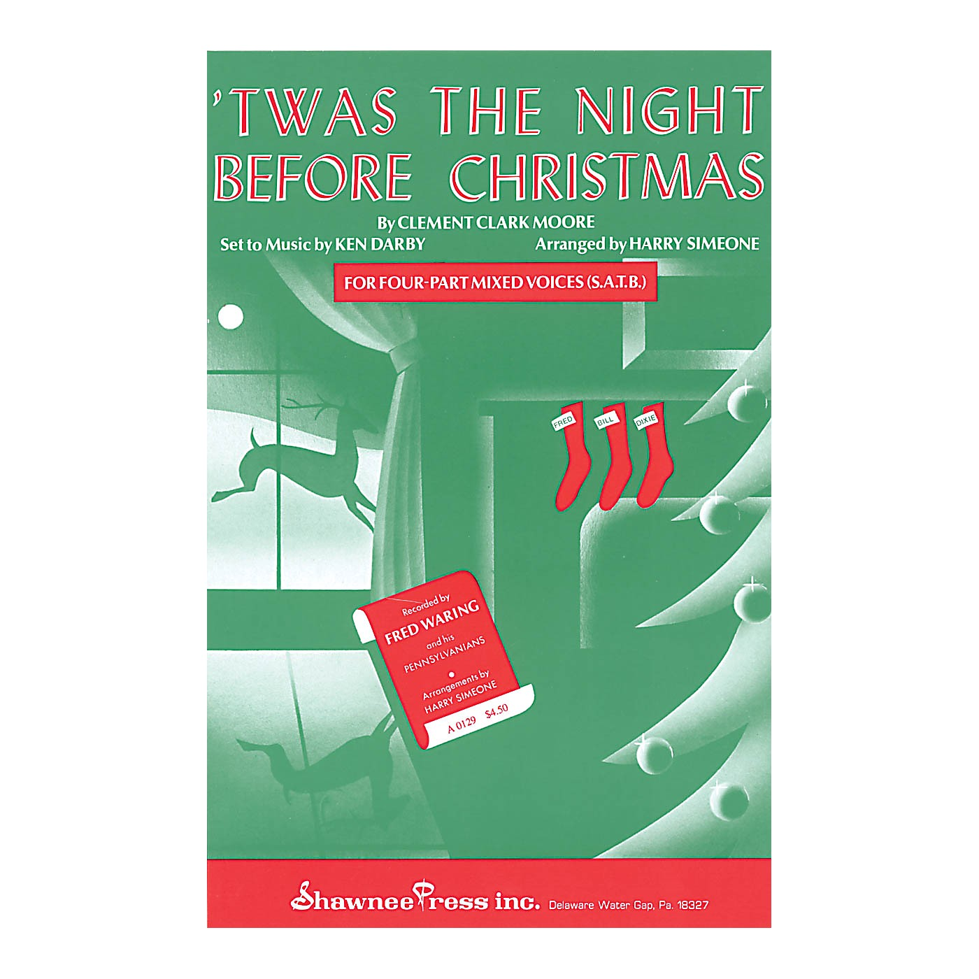 Shawnee Press 'Twas the Night Before Christmas SA Arranged by Harry Simeone thumbnail