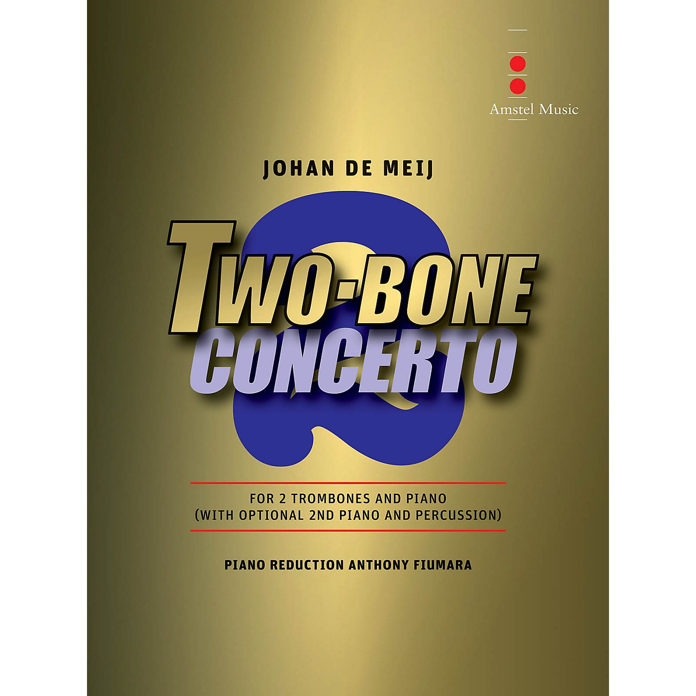 Amstel Music Two Bone Concerto (2 Trombones and Piano Reduction) Concert Band Level 6 Composed by Johan de Meij thumbnail