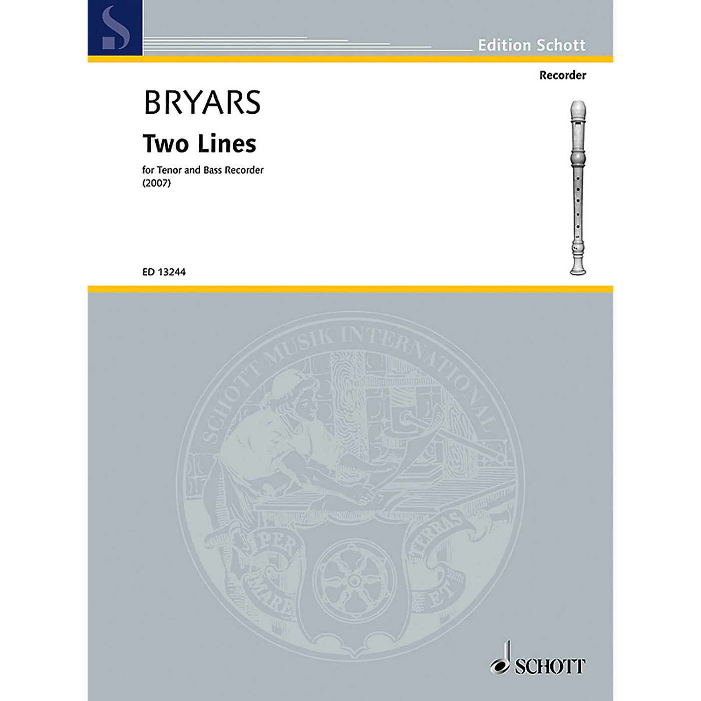 Schott Two Lines (Tenor and Bass Recorder) Schott Series by Gavin Bryars thumbnail