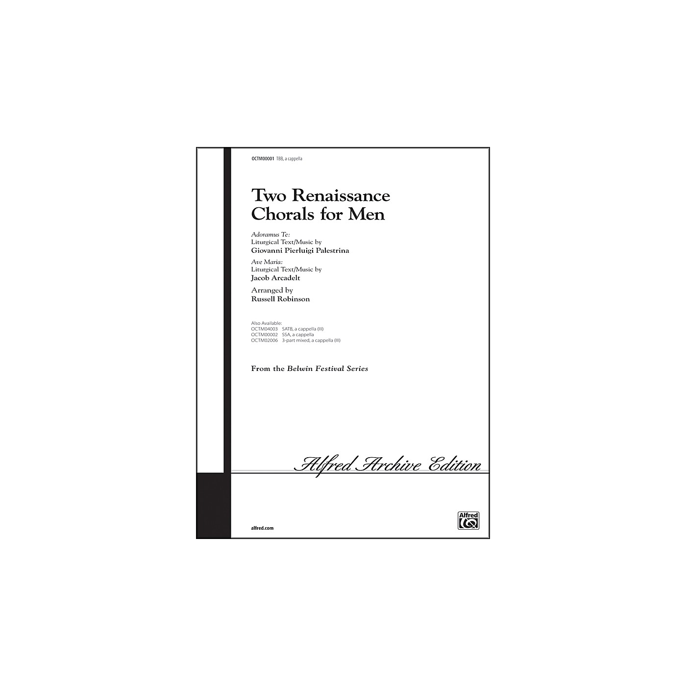 Alfred Two Renaissance Chorals (Adoramus Te / Ave Maria) TBB Choral Octavo thumbnail