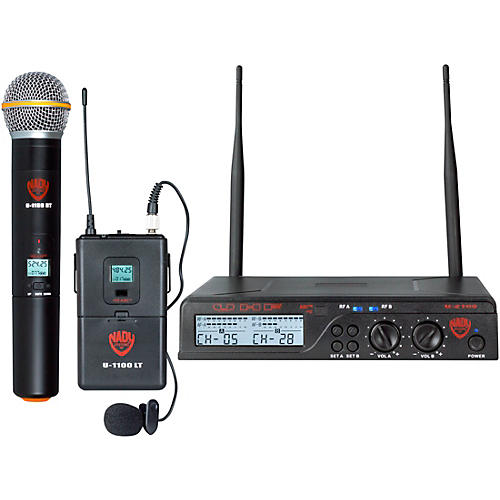 Nady U-2100 Dual 100-Channel UHF Wireless Handheld and Lapel Microphone System/Band A/B thumbnail