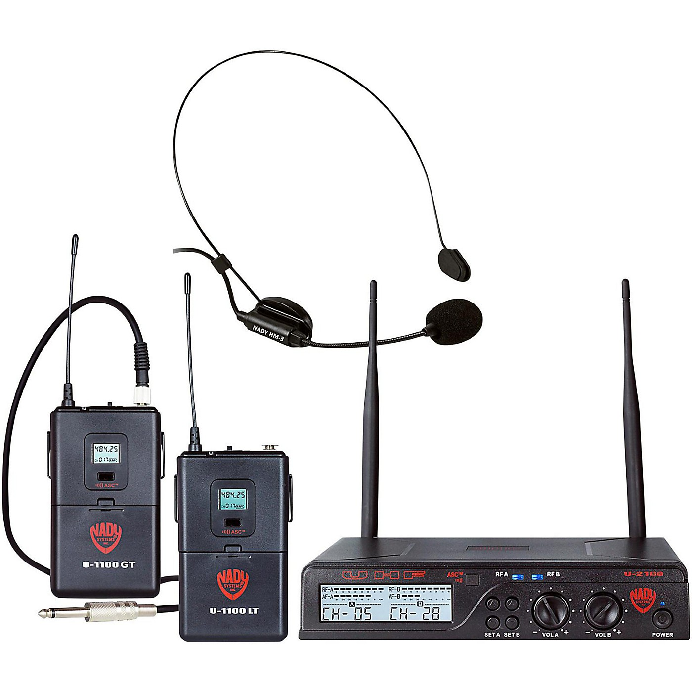 Nady U-2100 HM/GT - Dual 100 Channel Wireless Instrument and Headmic System thumbnail