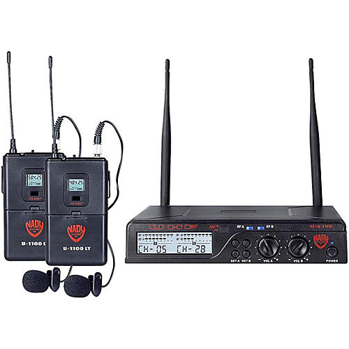 Nady U-2100 LT - Dual Channel UHF Wireless System with Omnidirectional Lavalier/Lapel Microphone thumbnail