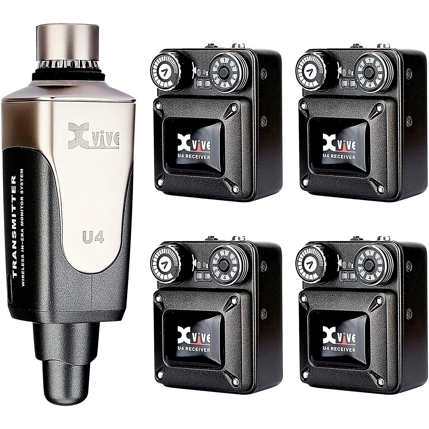 XVive U4R4 In-Ear Monitor Wireless System Transmitter One and Four Receiver thumbnail