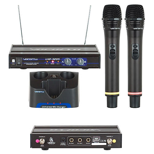 vocopro uhf 3205 dual rechargeable wireless microphone system woodwind brasswind. Black Bedroom Furniture Sets. Home Design Ideas