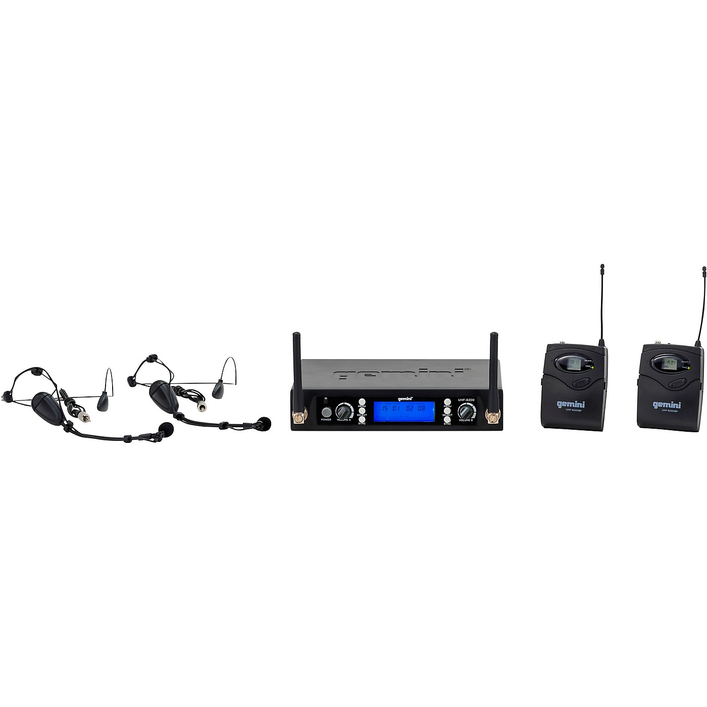 Gemini UHF-6200HL Dual Headset With Detachable Lavalier Wireless System thumbnail