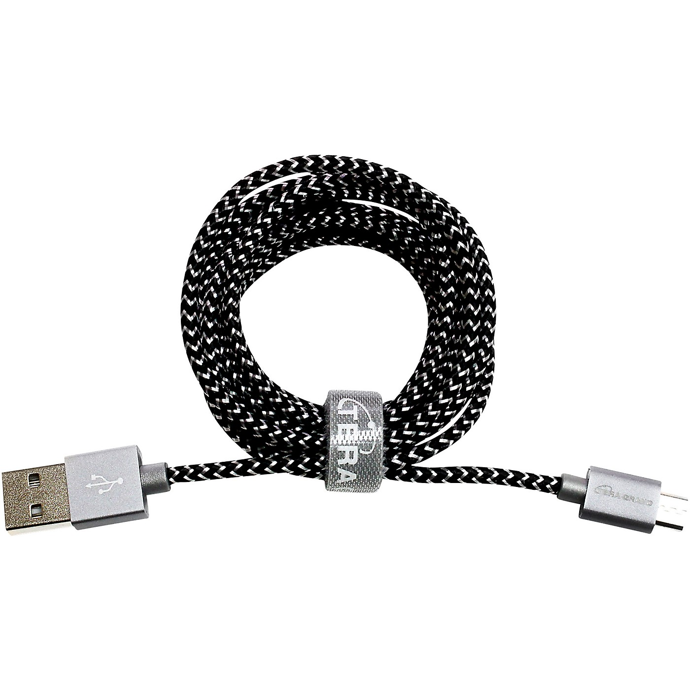 Tera Grand USB 2.0 C to A Braided Cable, 6' Black/White thumbnail