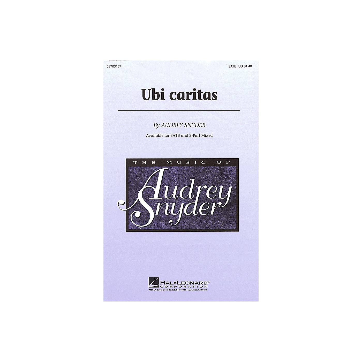 Hal Leonard Ubi Caritas 3-Part Mixed Composed by Audrey Snyder thumbnail