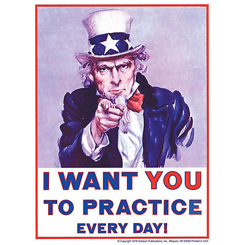 SCHAUM Uncle Sam Poster (I Want You to Practice Every Day) Educational Piano Series Softcover thumbnail